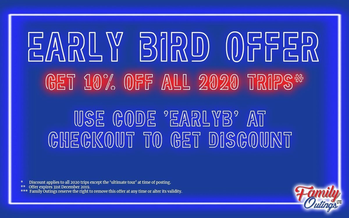 Early Bird 10% off Sale - Coach Trips